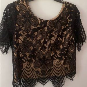 Express Cropped Lace Lined Blouse (M)